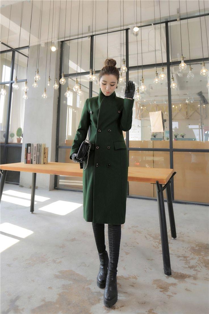Модное зеленое шерстяное пальто