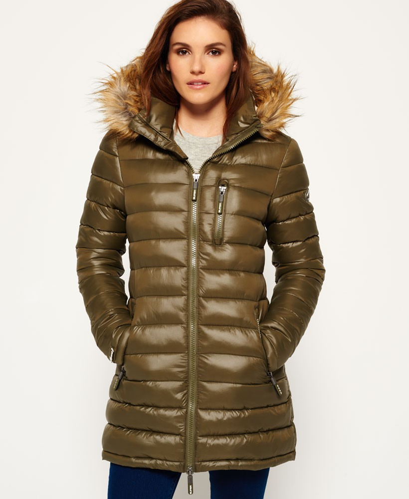 Стеганое пальто зеленое