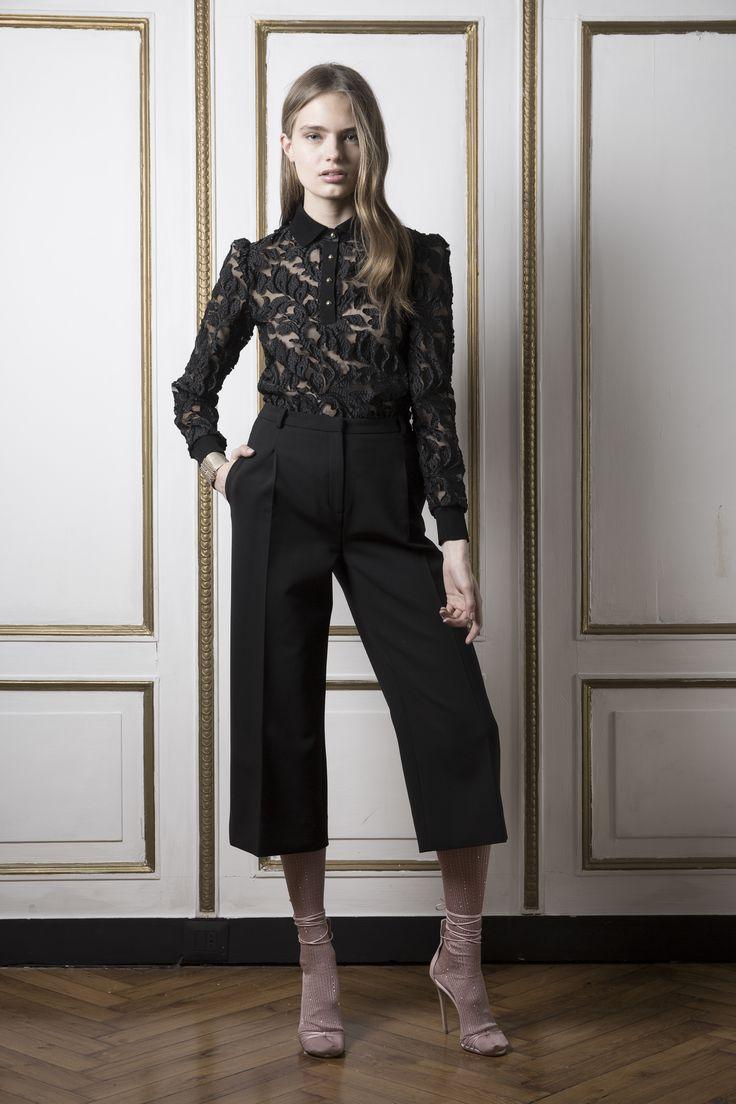 Ажурная черная рубашка 2018