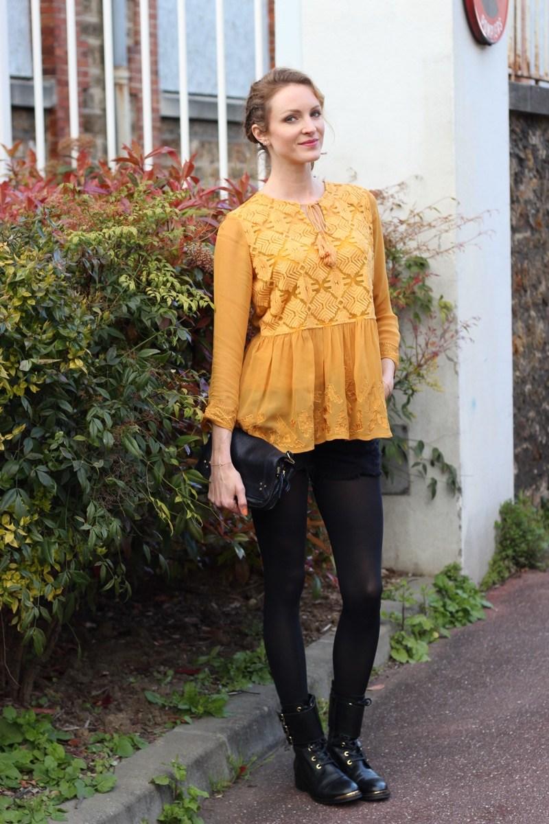 Желтая блузка с баской