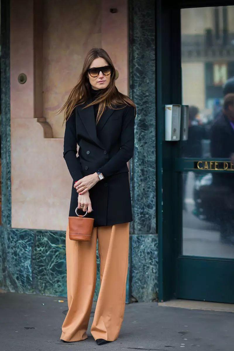 Бежевые женские широкие брюки