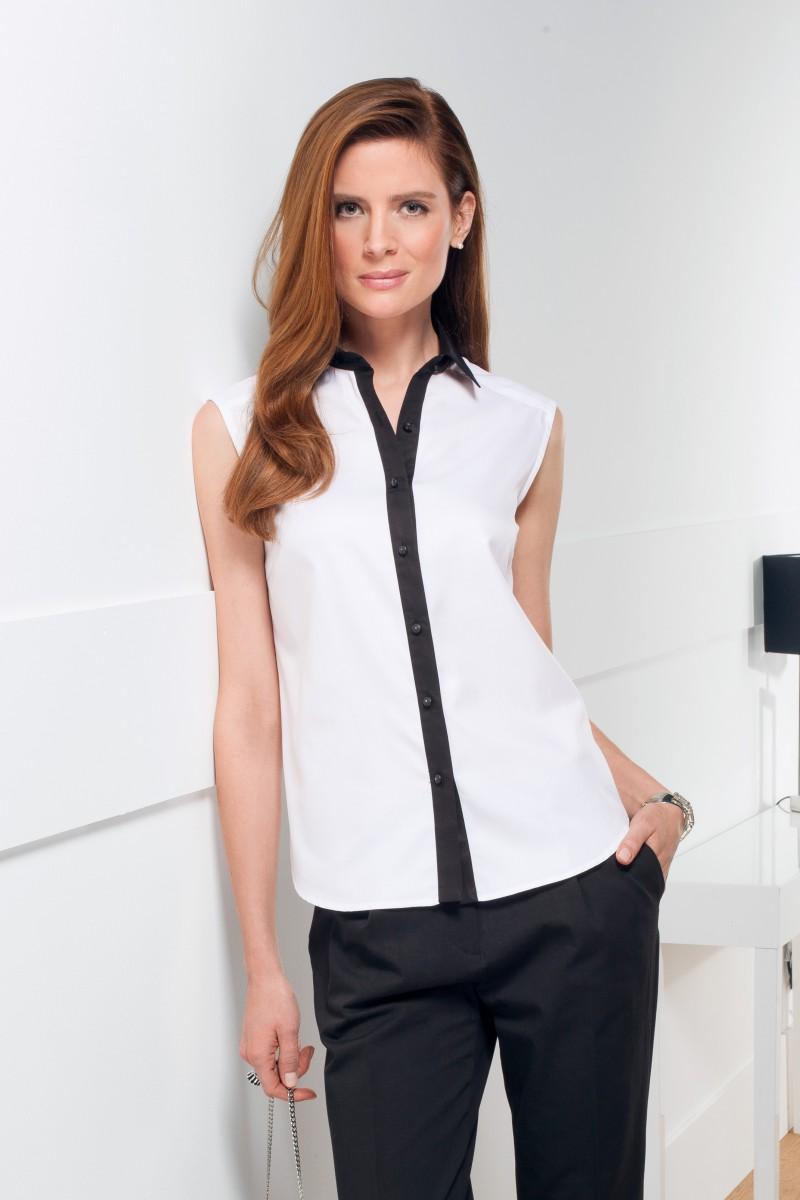 Женская белая рубашка без рукавов