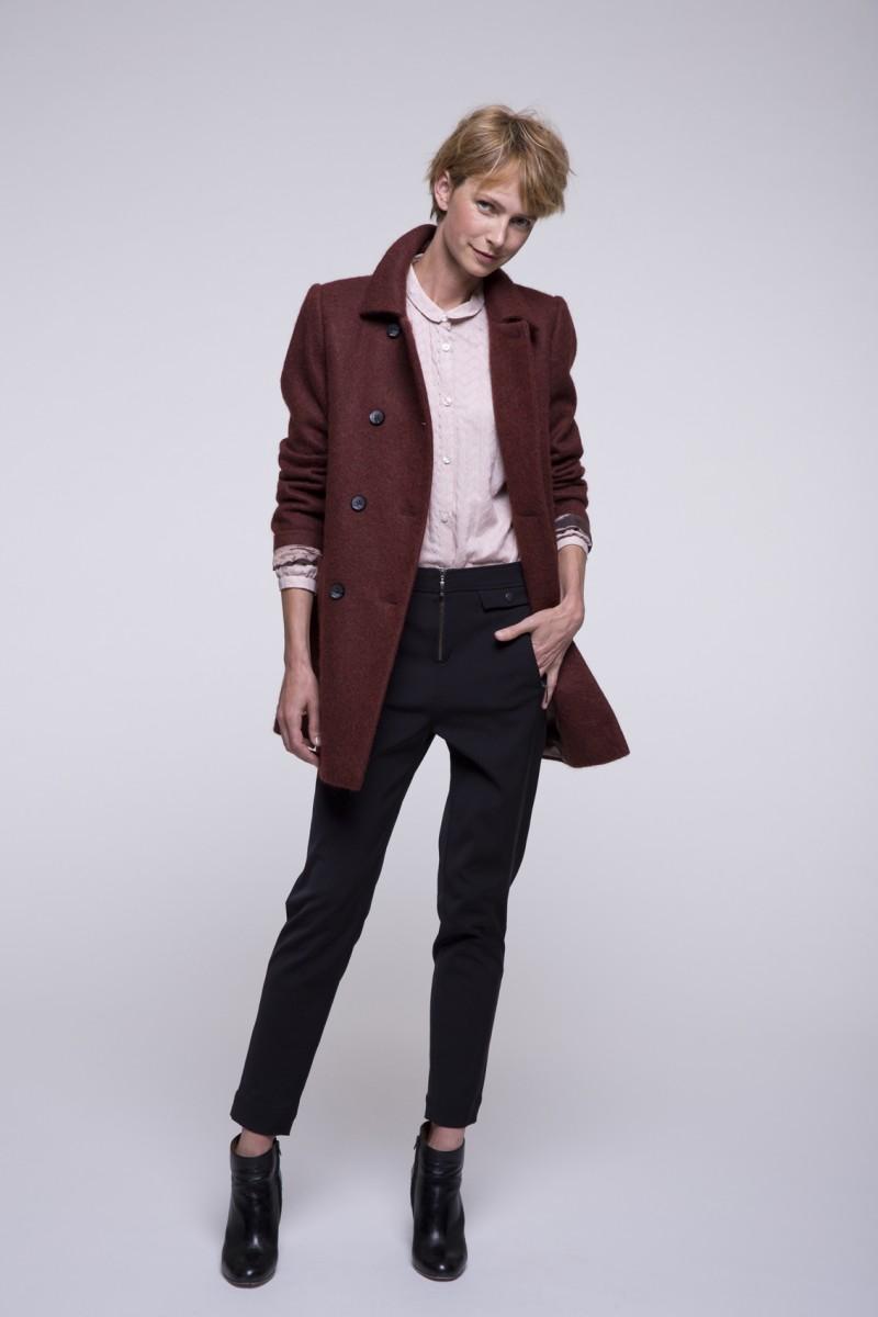 Бордовое пальто из альпаки