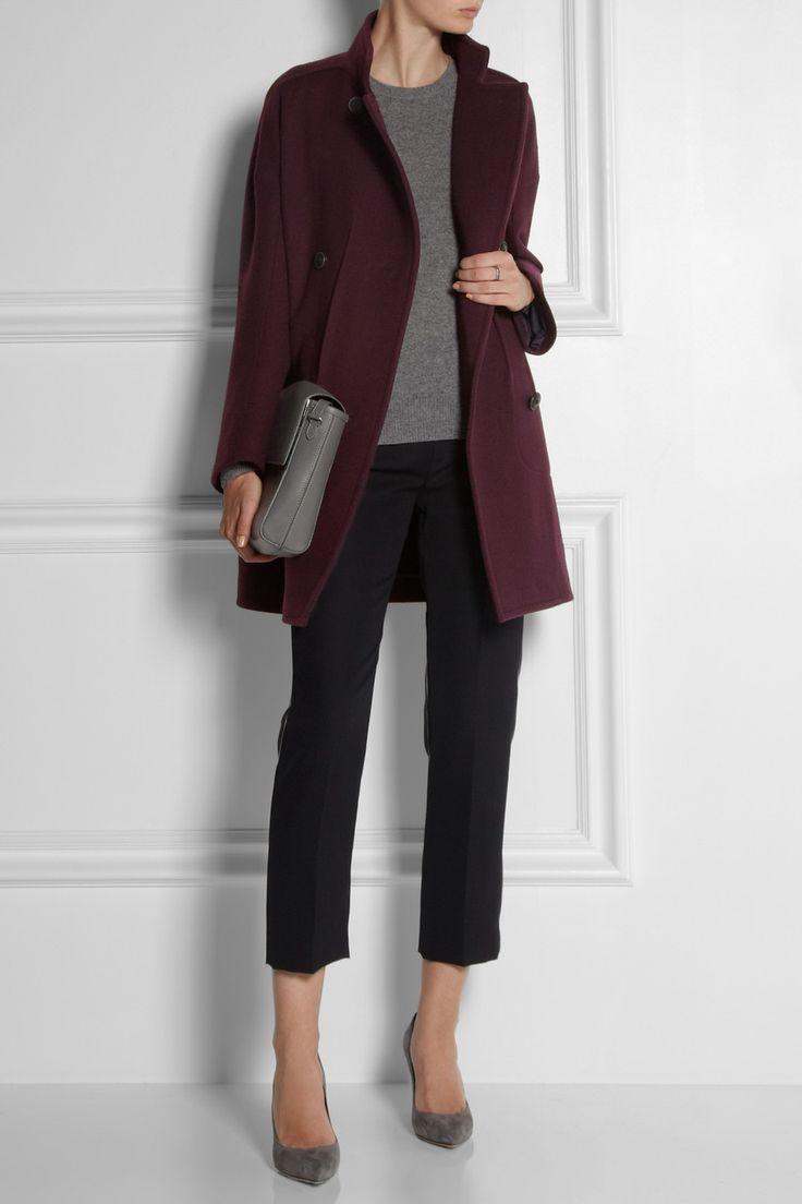 Бордовое драповое пальто