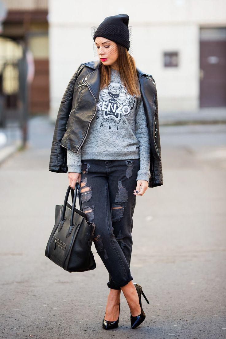 Черные джинсы бойфренды