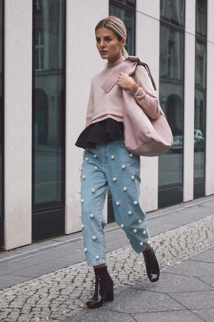 Прямые джинсы с бусинами