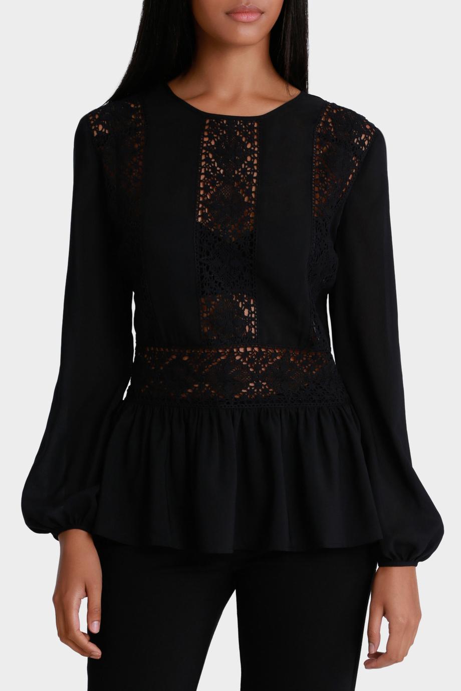 Черная блузка с баской