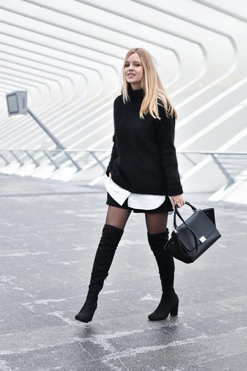 Черный свитер оверсайз