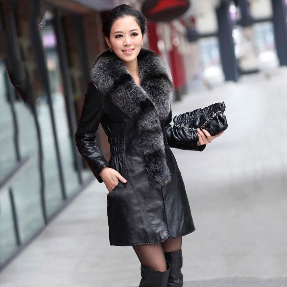 Длинная кожаная куртка с мехом