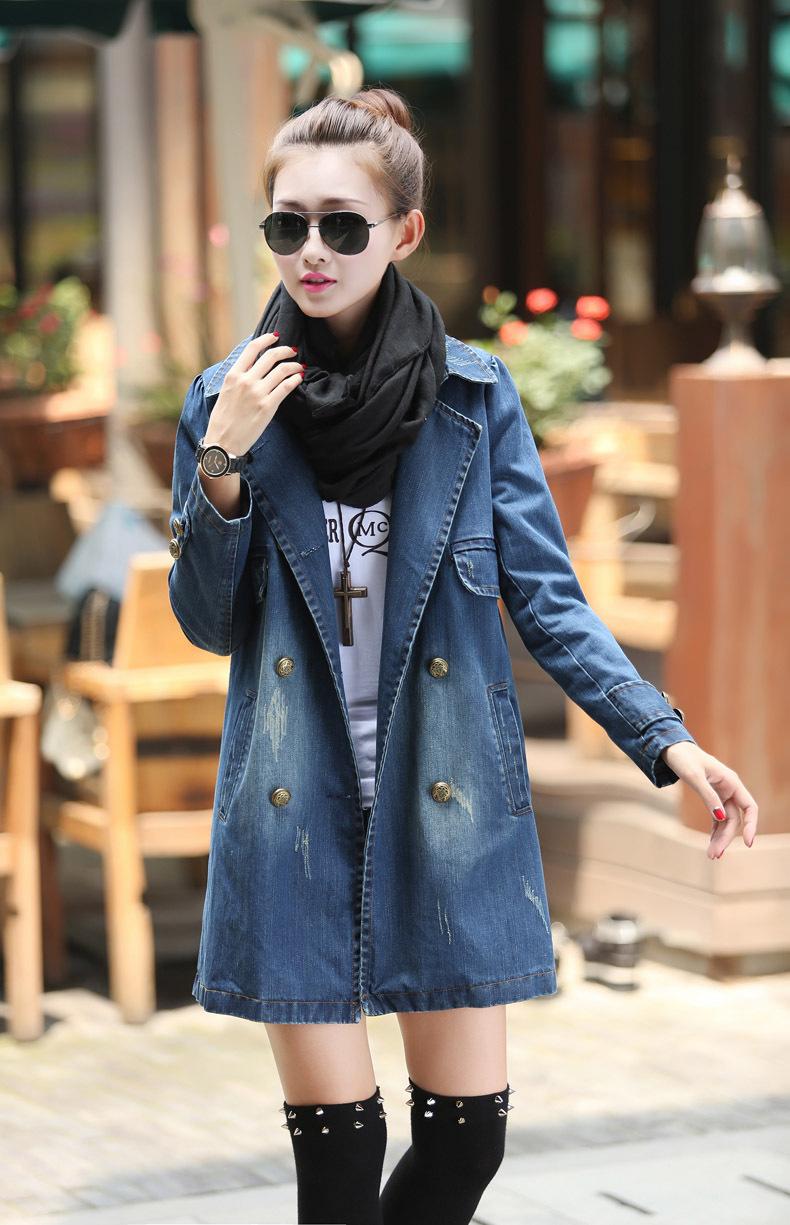 Двубортное джинсовое пальто