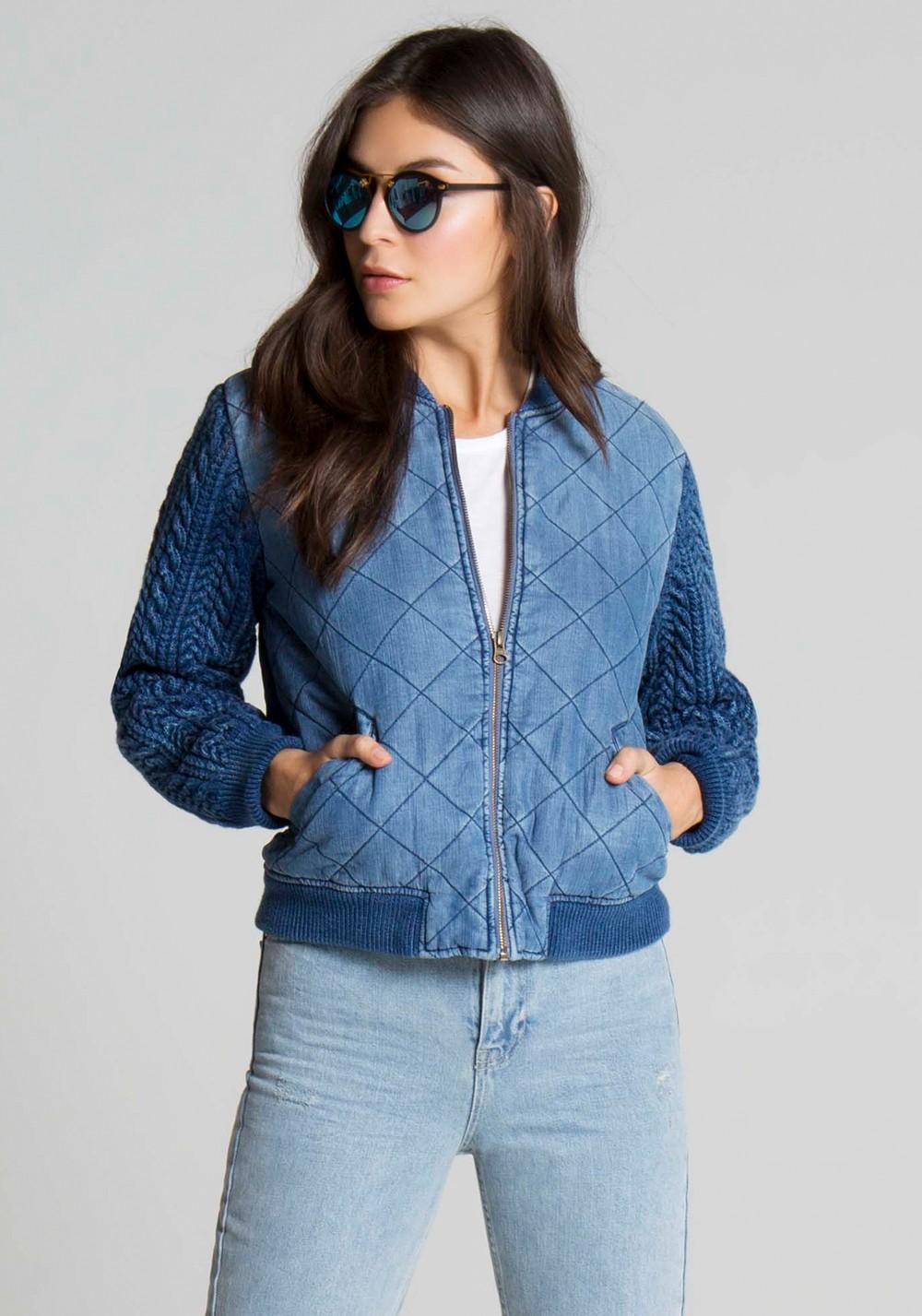 Стеганая джинсовая куртка