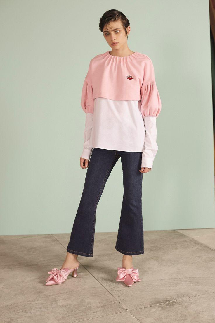 Трикотажная блузка с рукавами фонариками