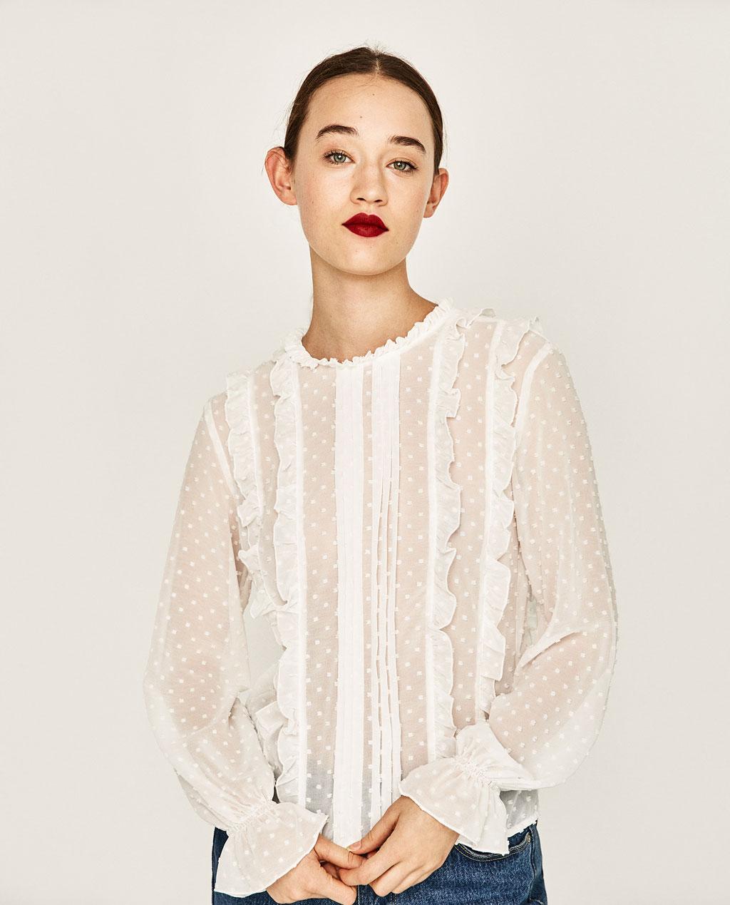 Блузка в белый горошек с воланами
