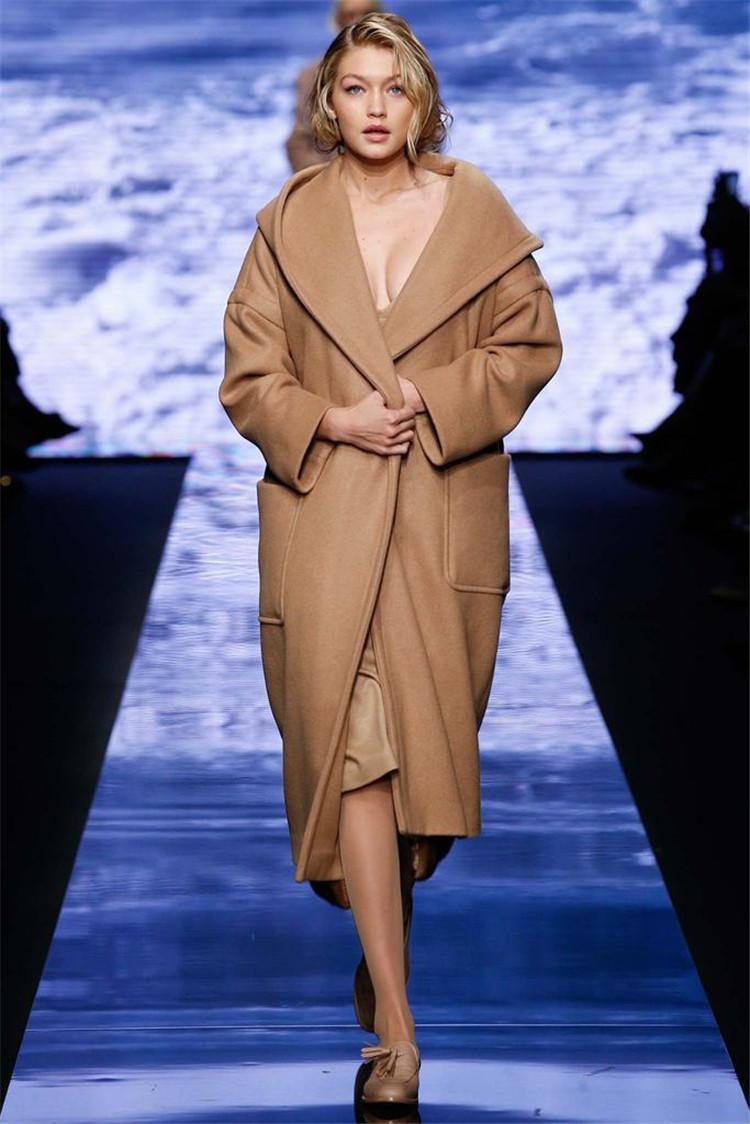 Драповое пальто с карманами