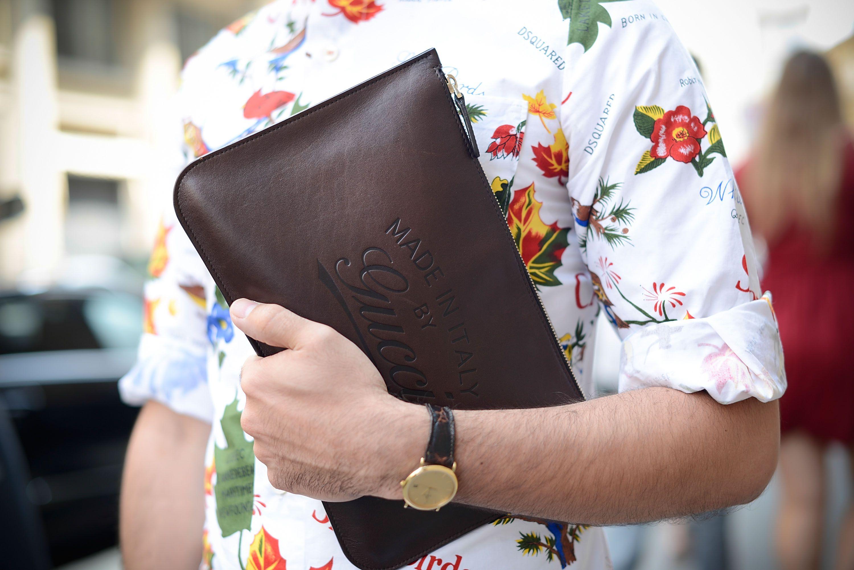 Мужской коричневый клатч кошелек