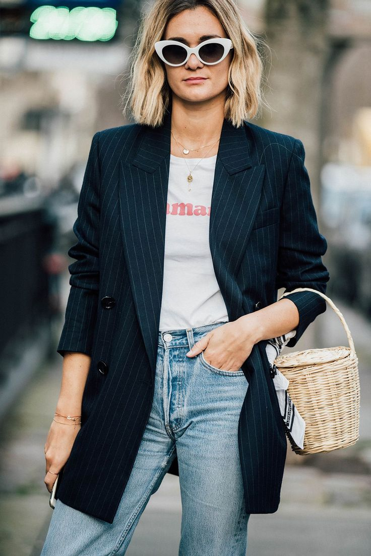 Удлиненный пиджак в полоску