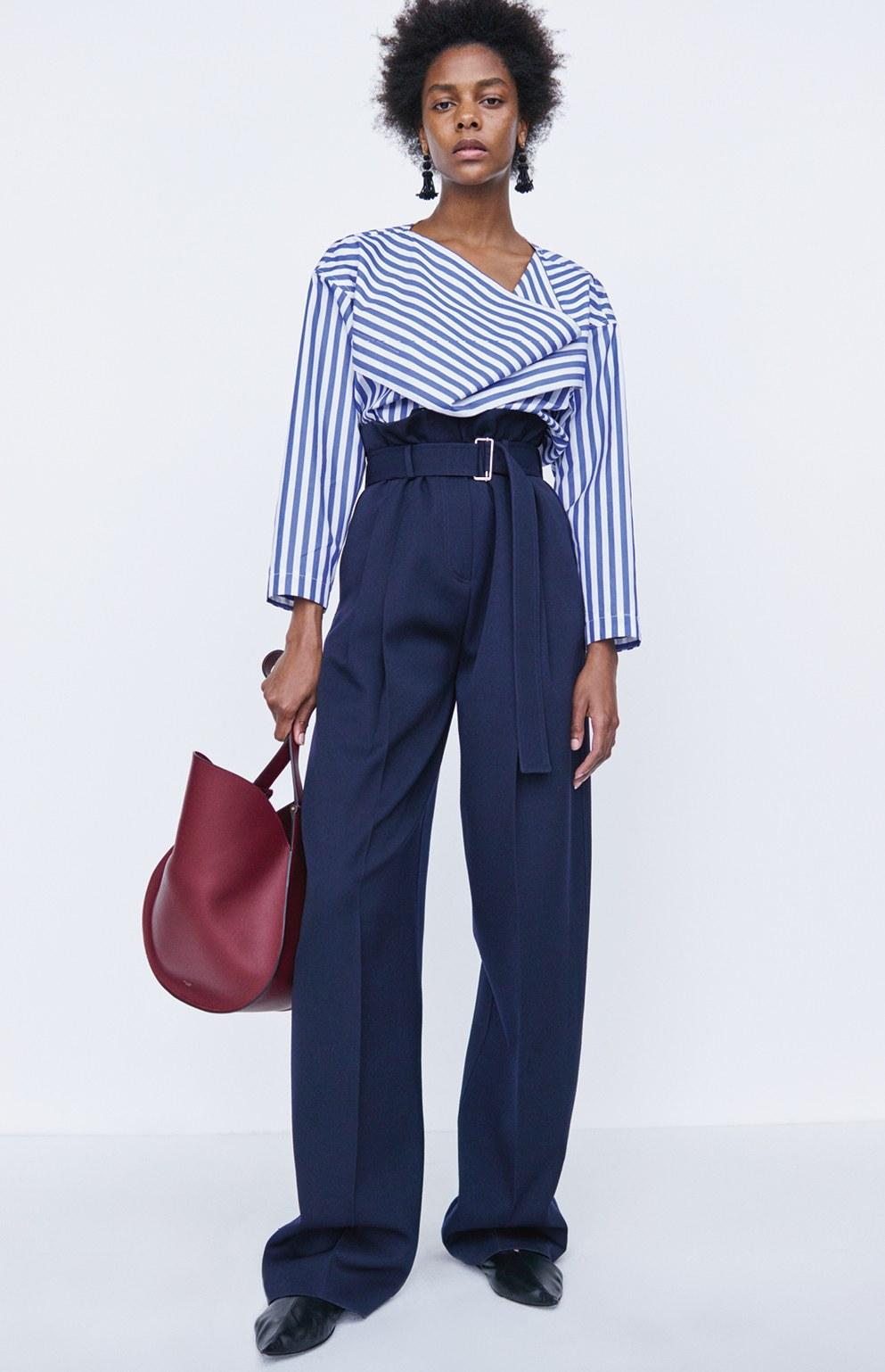 Синие брюки с поясом