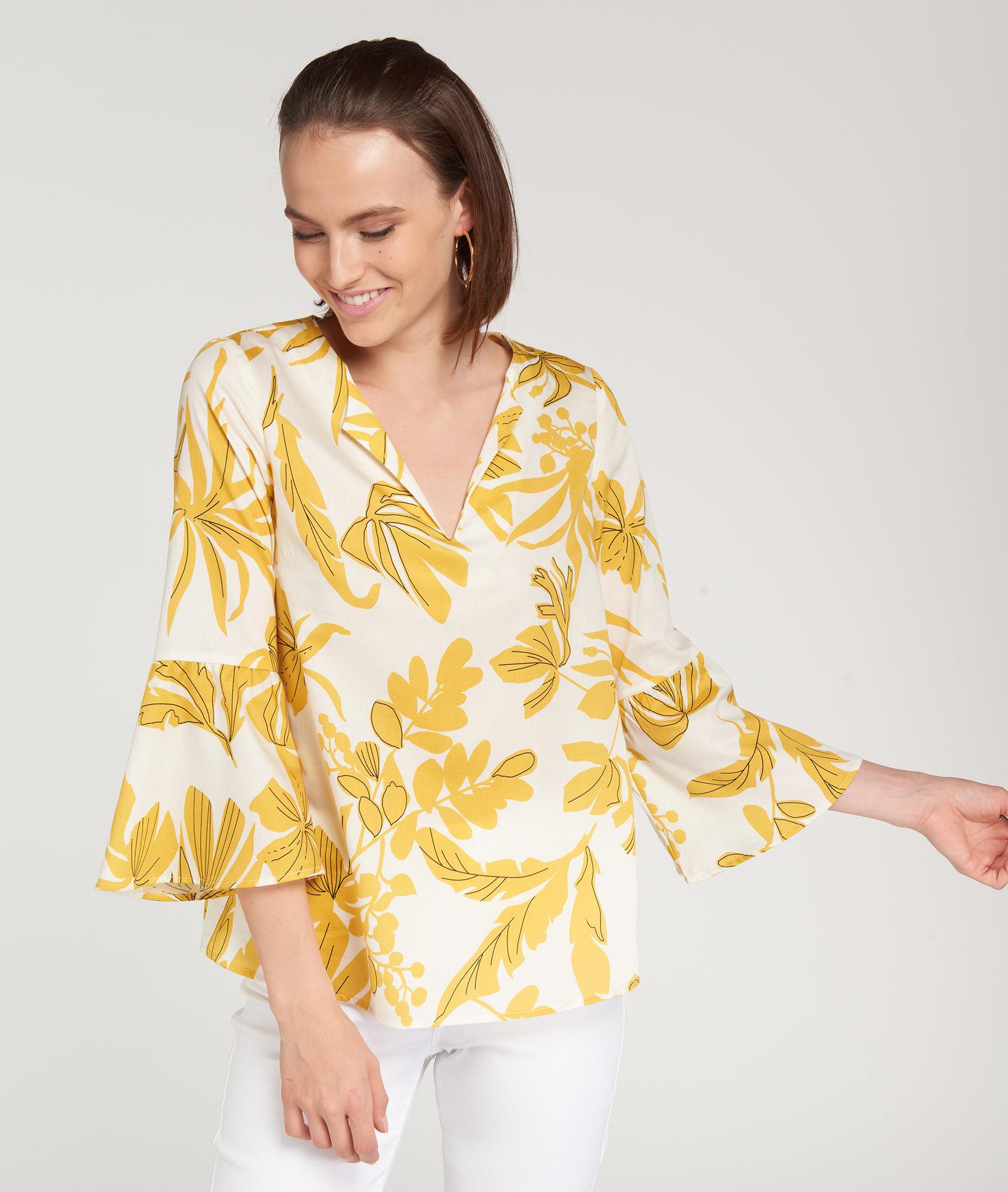 Желтая блузка с принтом