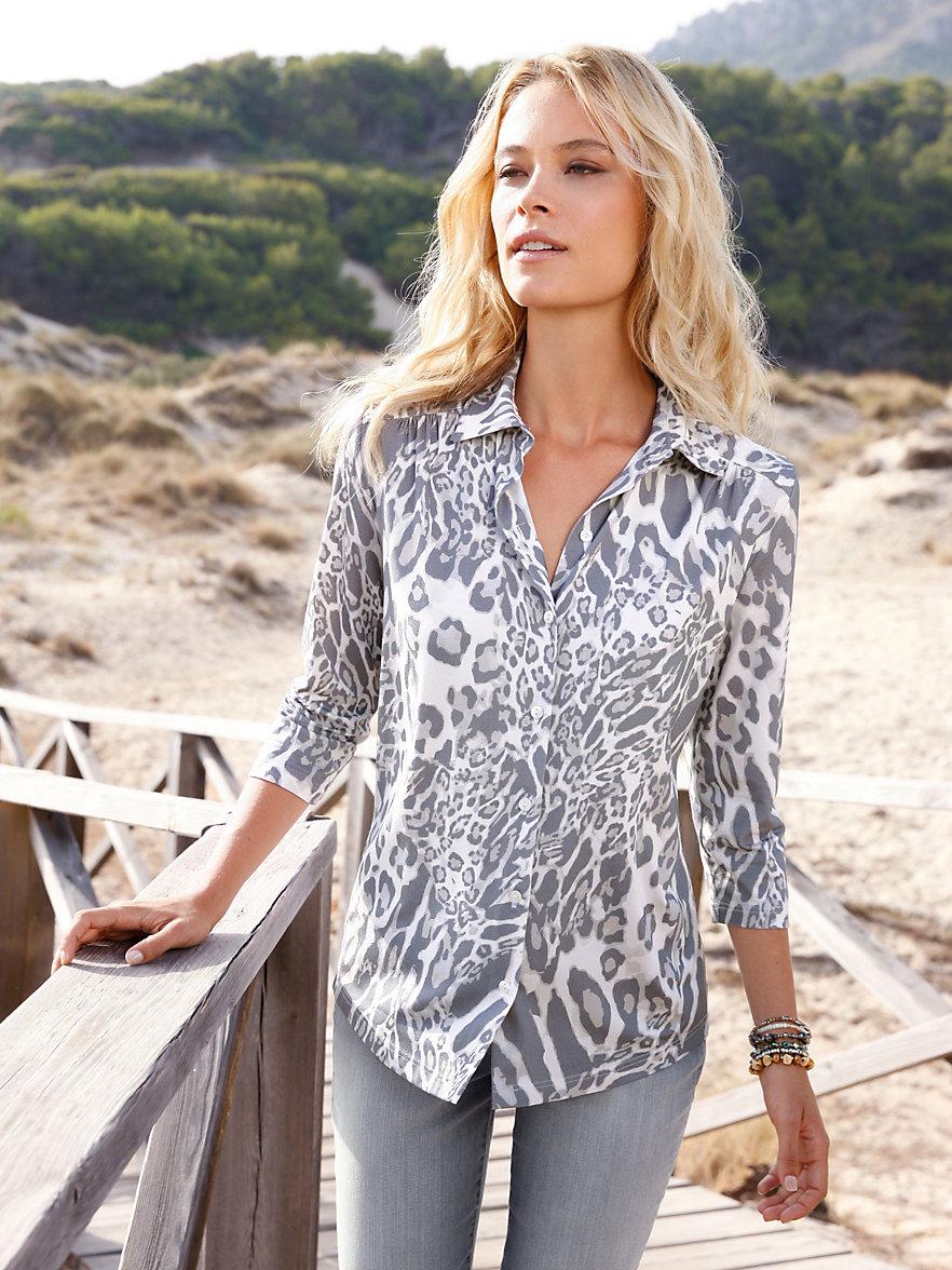 Трикотажная блузка с принтом