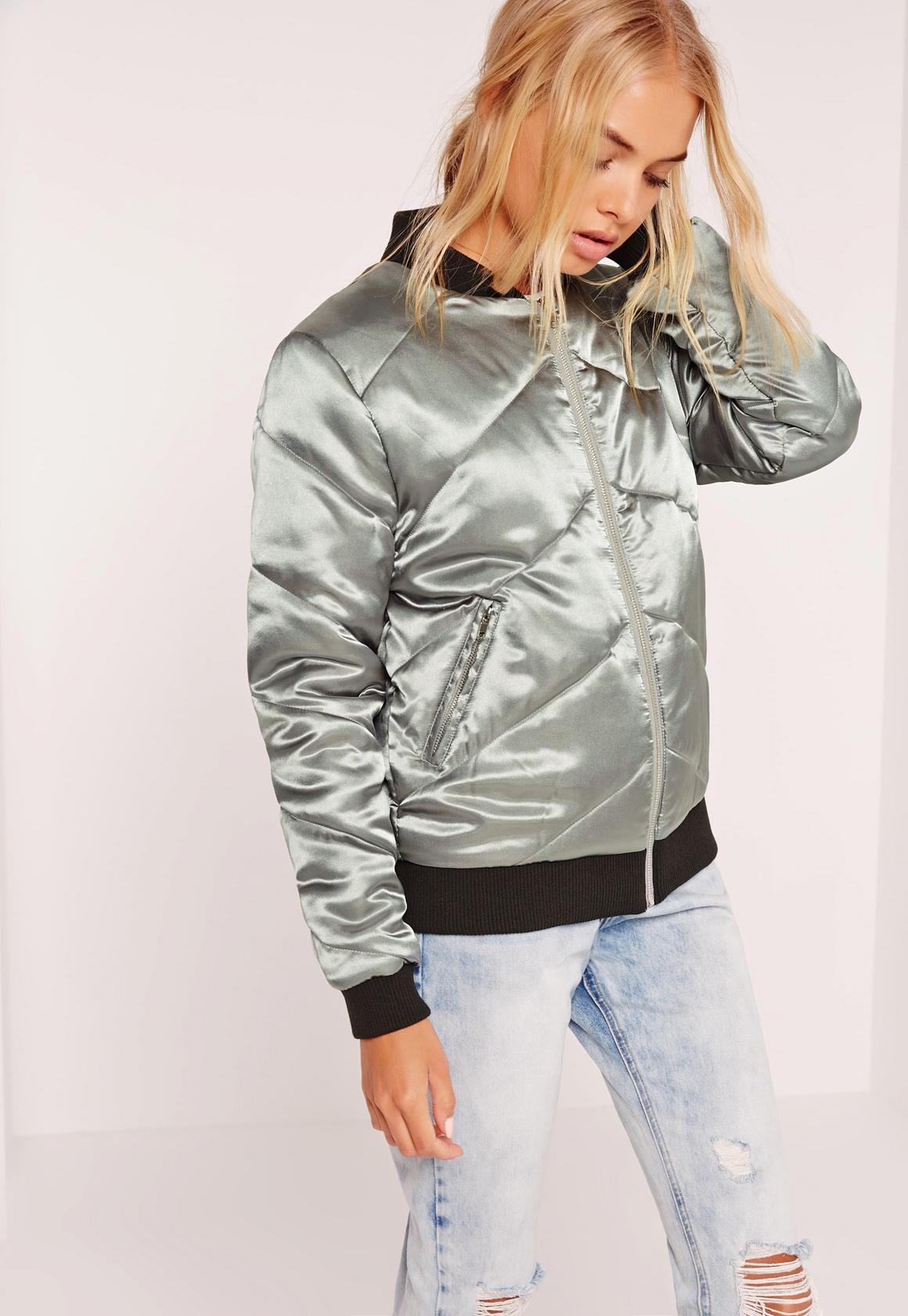 Стеганая серебряная куртка