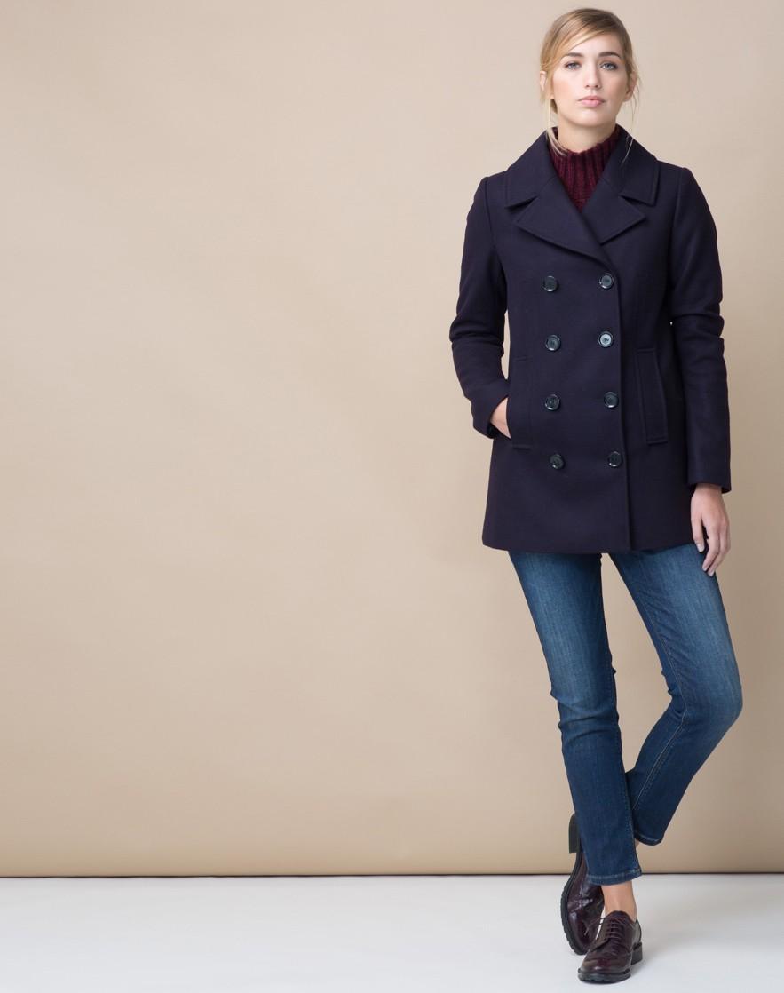 Синее короткое пальто
