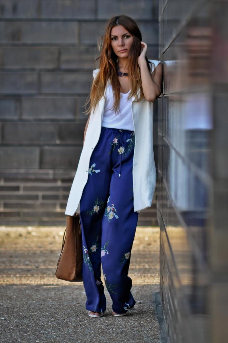 Женские широкие брюки синие