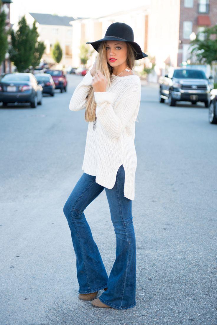 Синие джинсы клеш