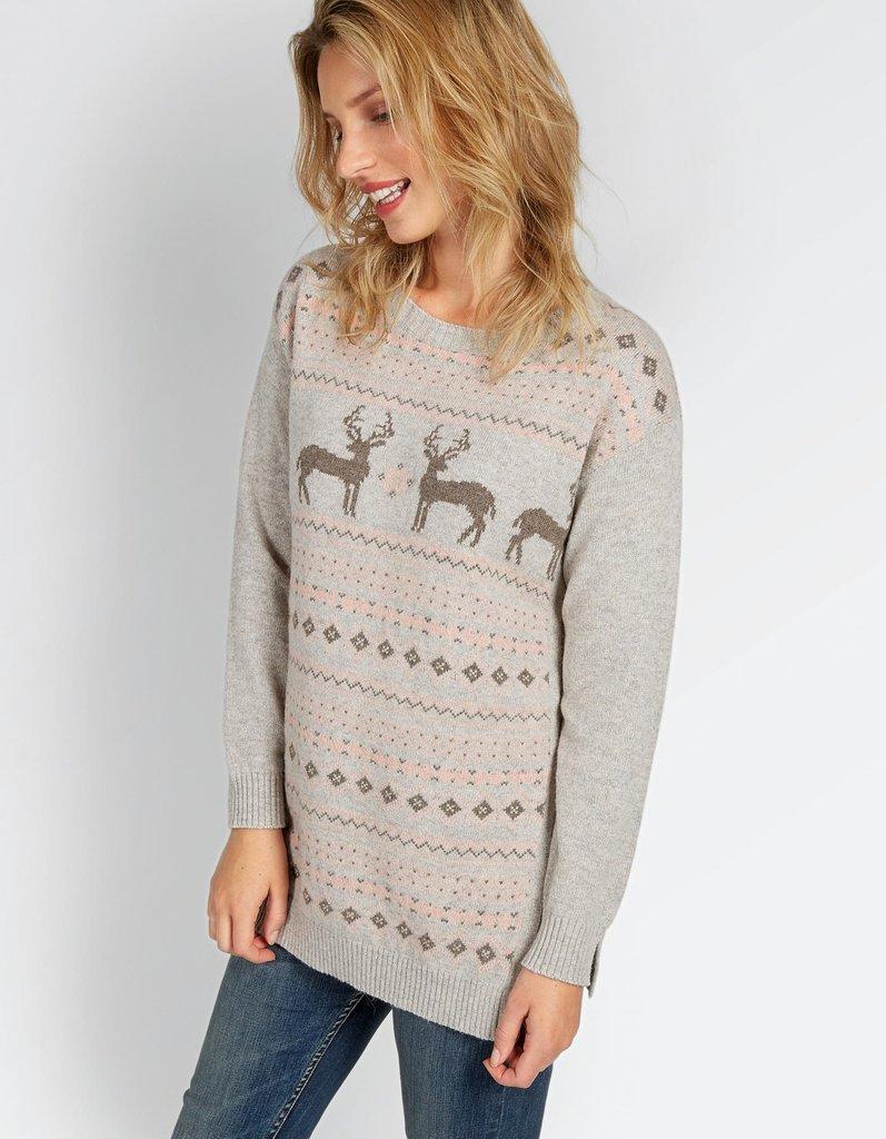 Удлиненный свитер с оленями