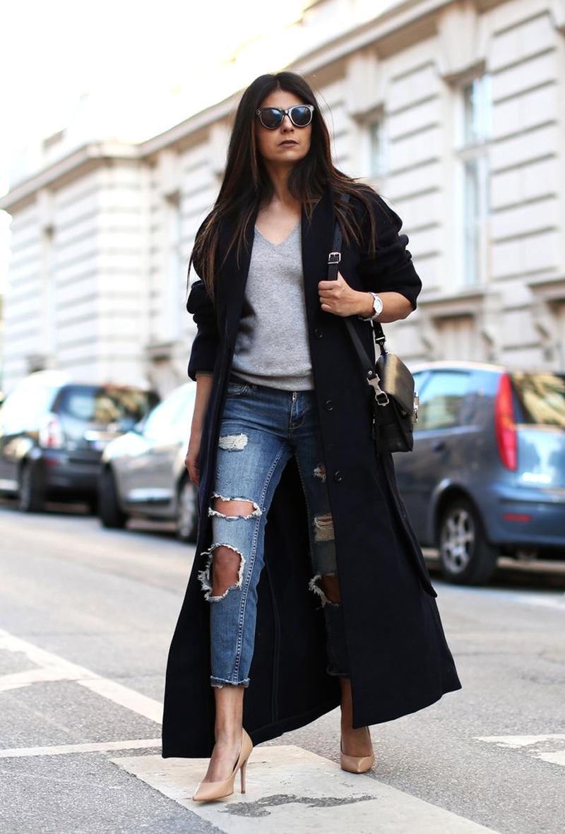 Узкие джинсы с дырками
