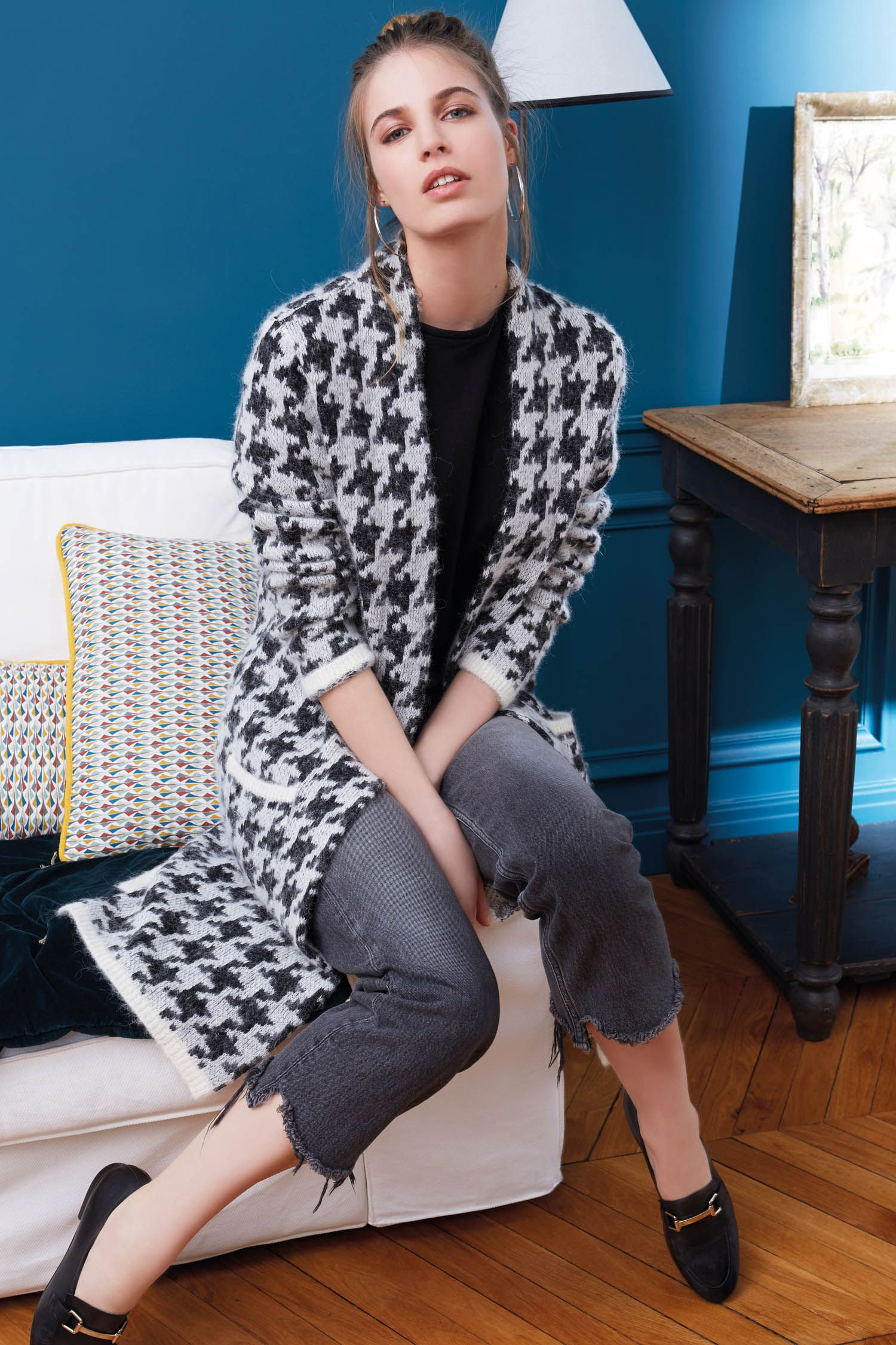 Пальто из альпаки вязаное