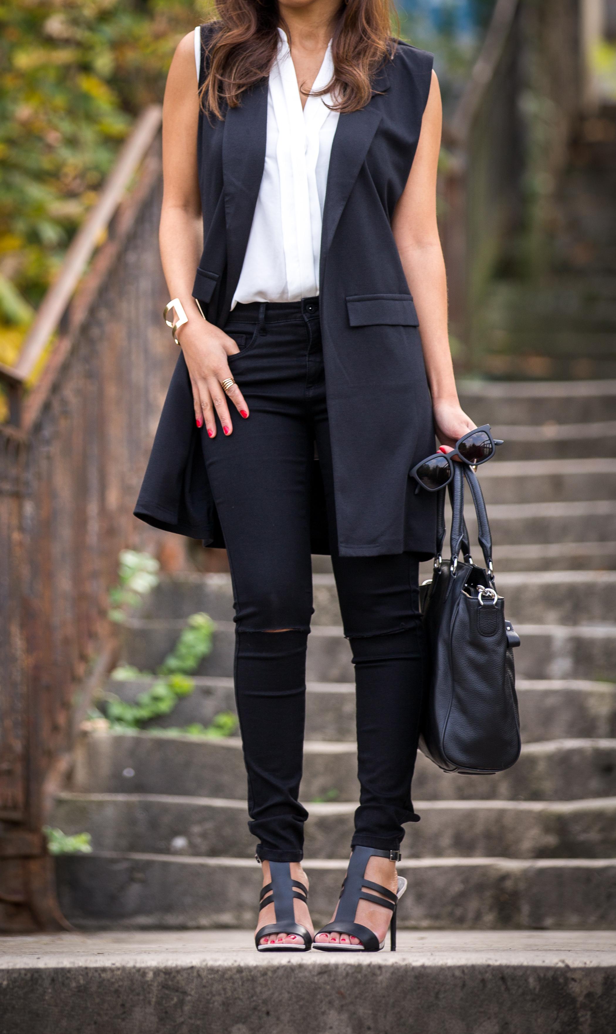 Удлиненный пиджак жилет