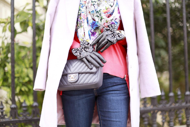 Перчатки с кожаным бантиком