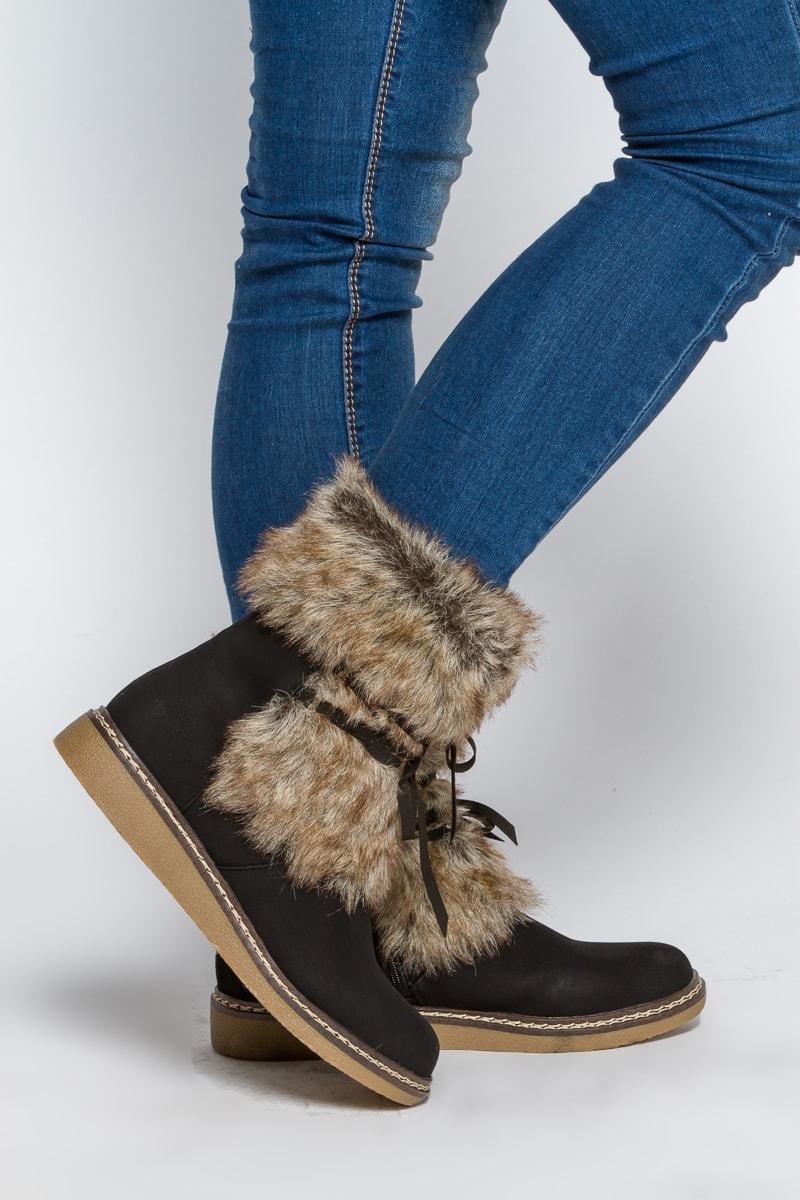 Ботинки с мехом без каблука