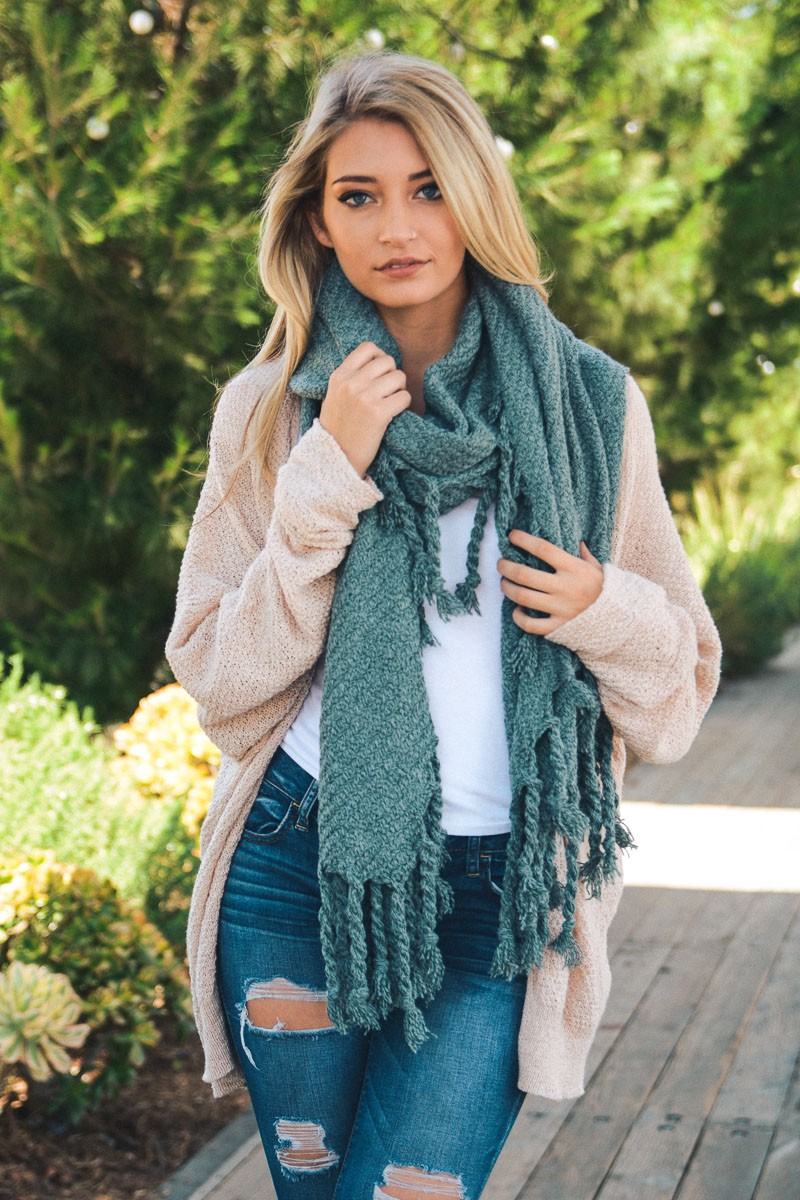 Вязаный шарф бирюзовый