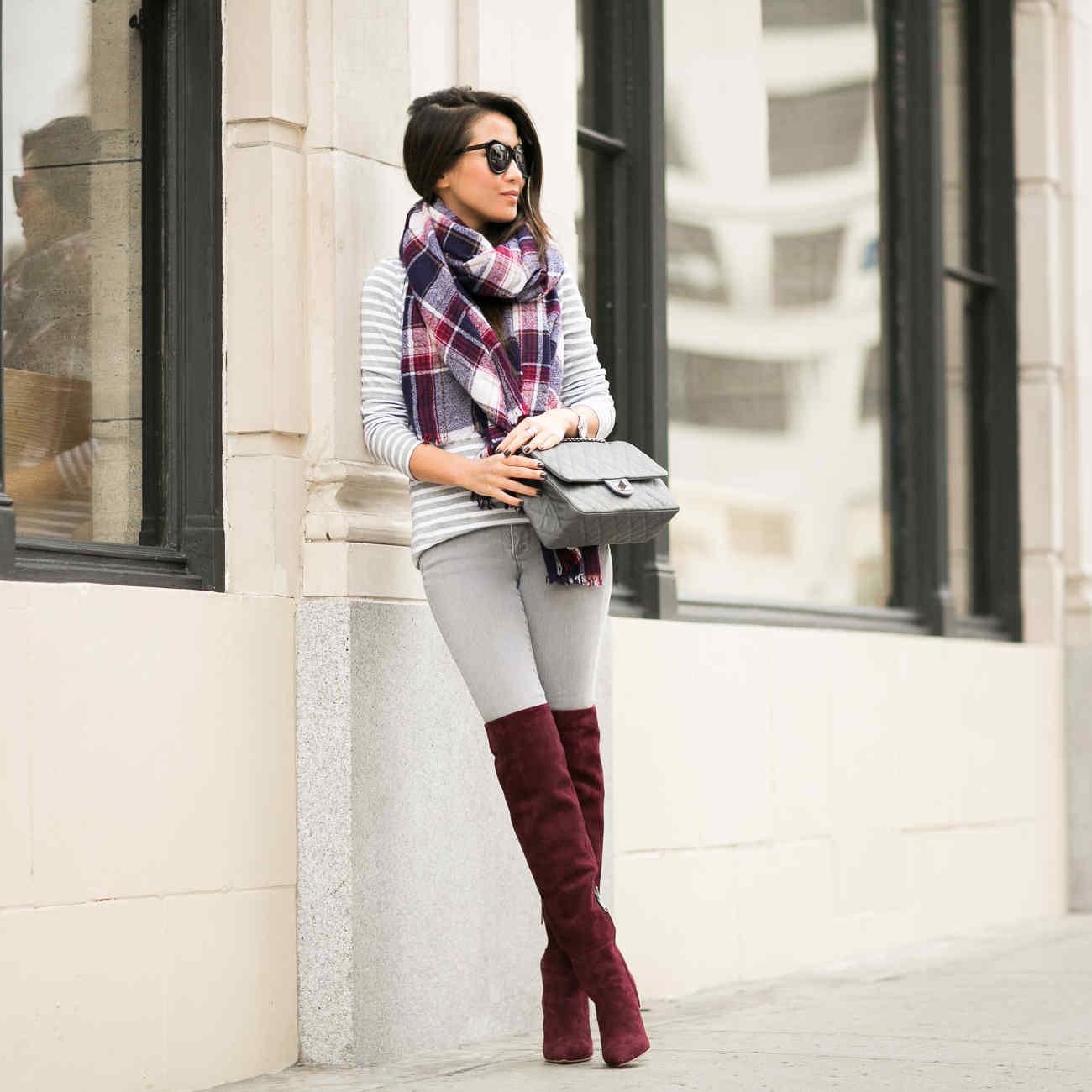С чем носить ботфорты бордовые