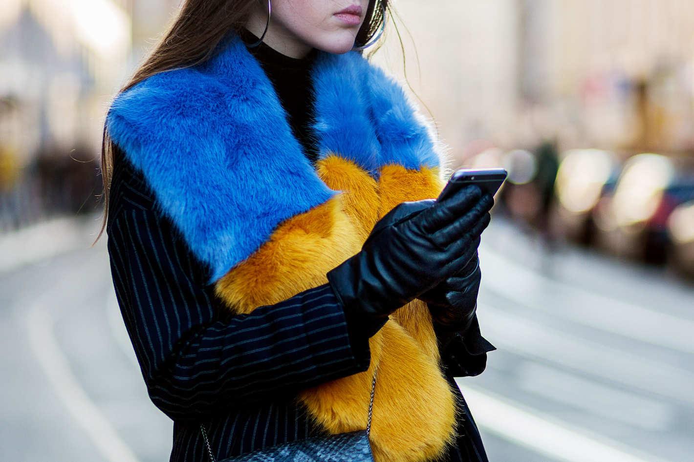 Кожаные перчатки черного цвета