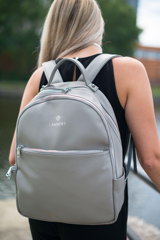 Серый рюкзак из экокожи