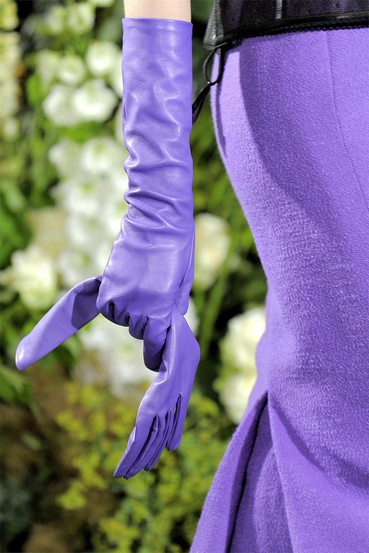 Кожаные перчатки фиолетовые