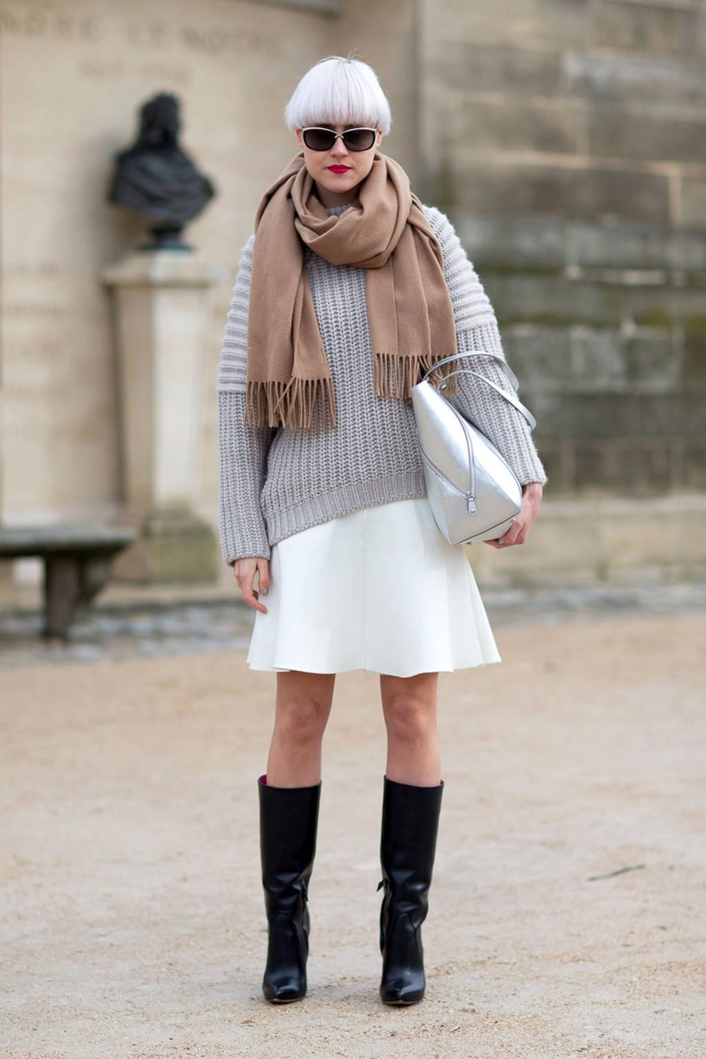 Вязаный шарф из флиса