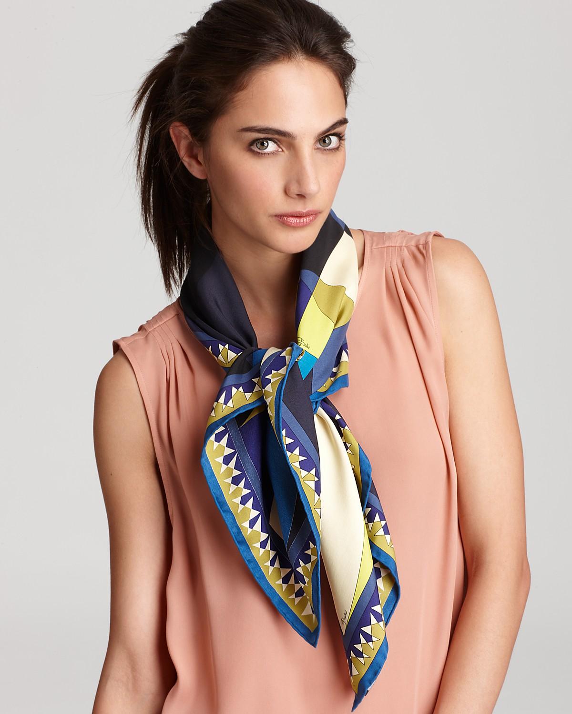Шелковый шарф с геометрическим принтом