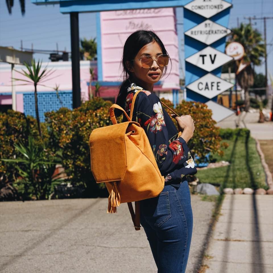 Кожаный рюкзак горчичного цвета