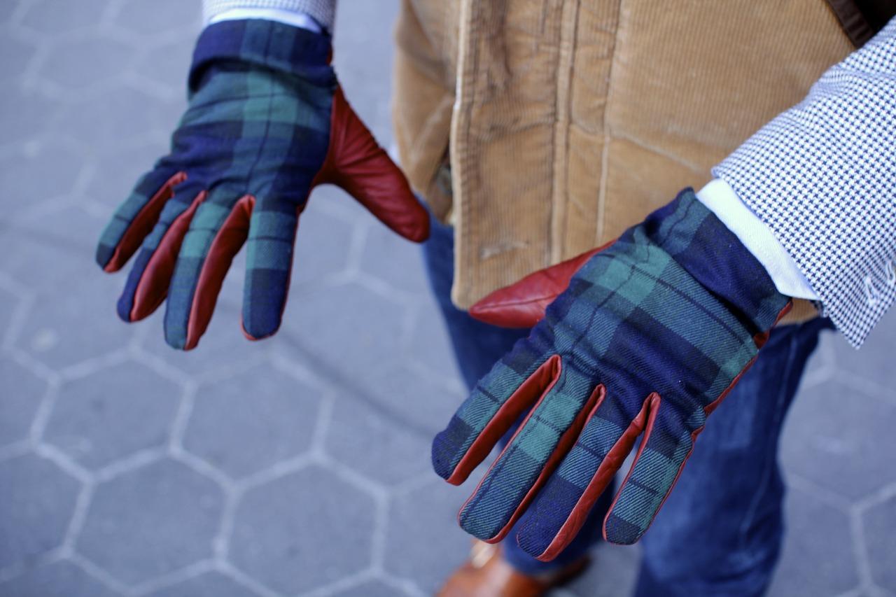 Клетчатые мужские перчатки
