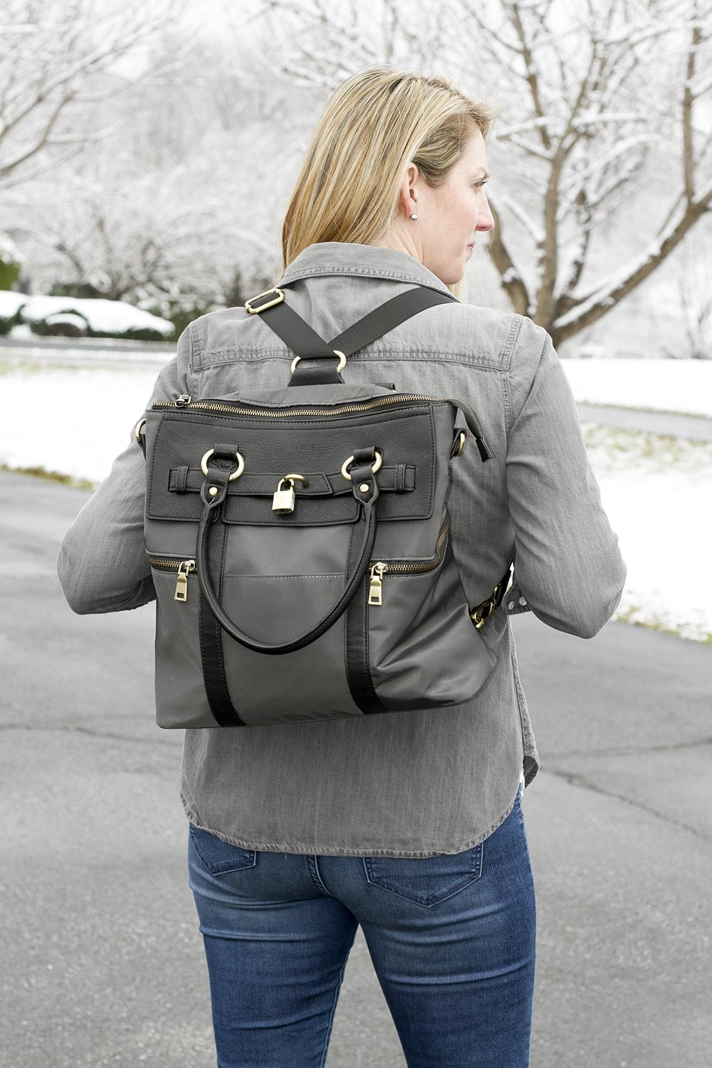 Серый рюкзак комбинированный