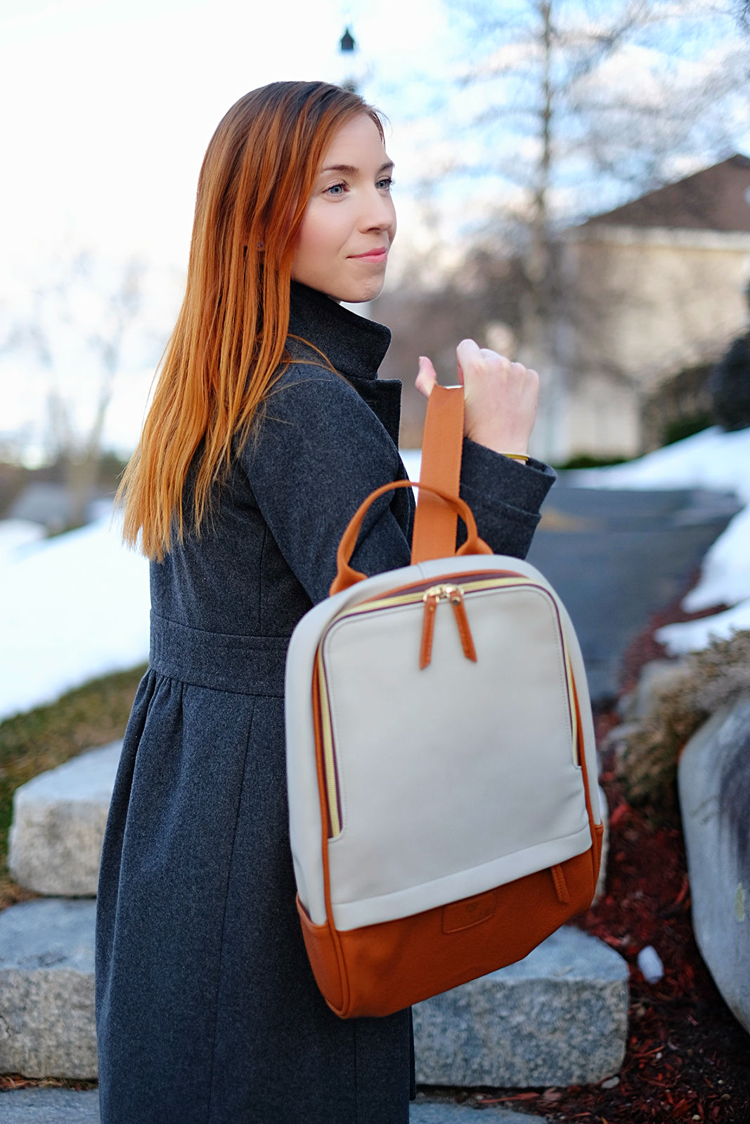 Кожаный рюкзак комбинированный