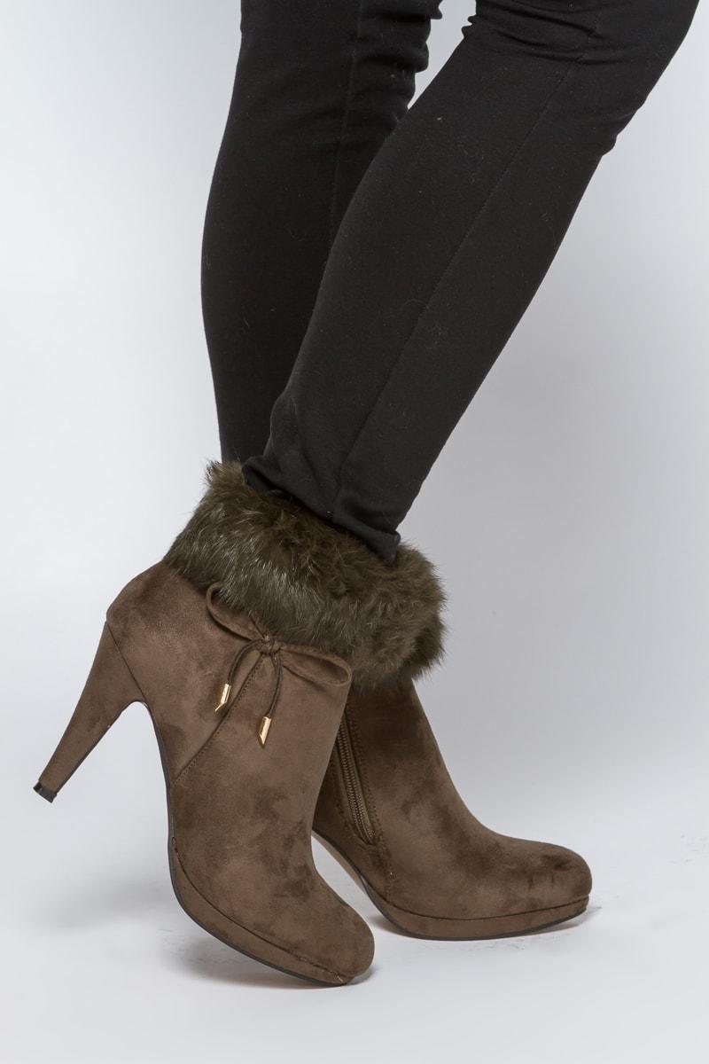 Ботинки с мехом коричневые
