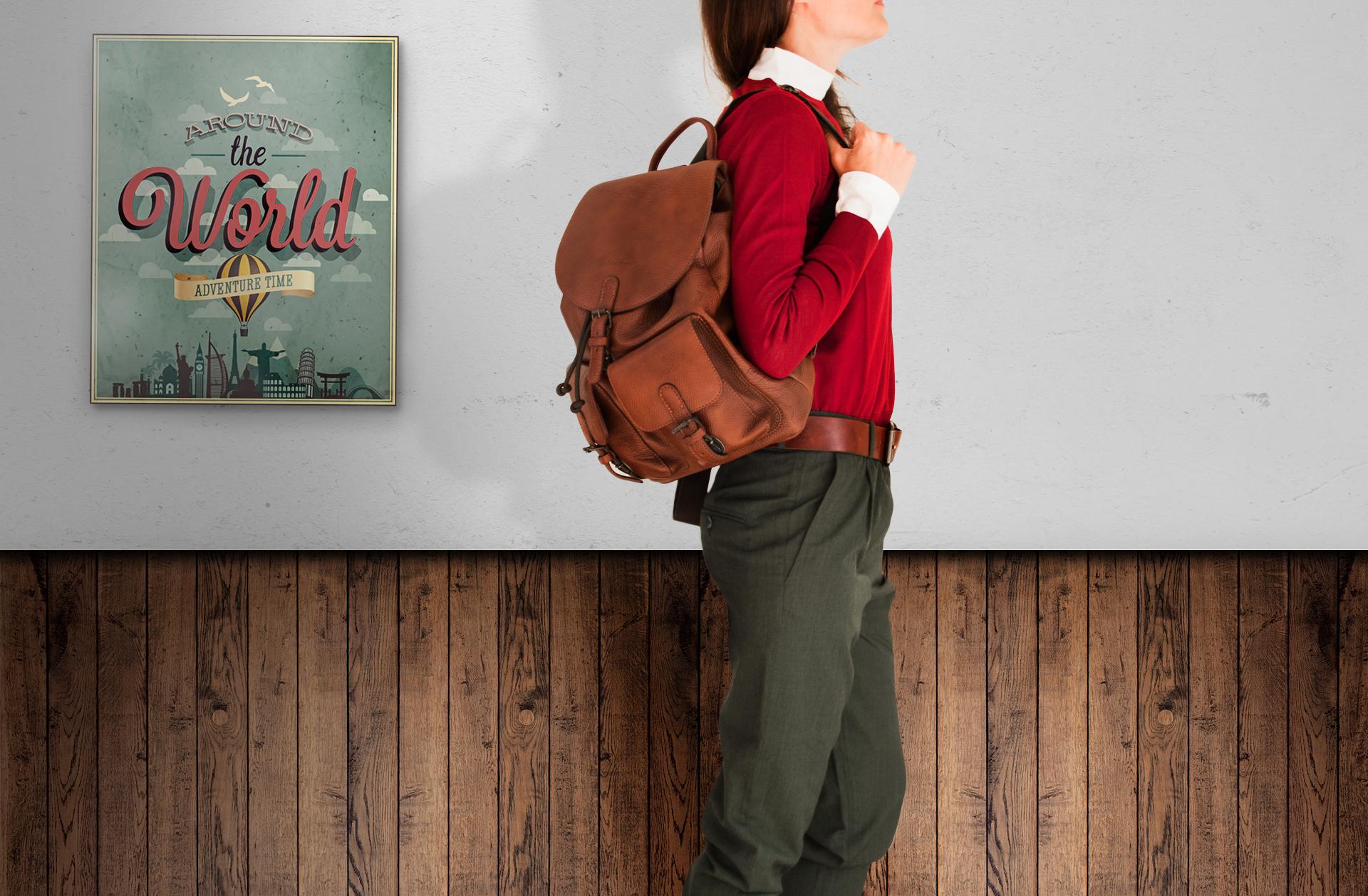 Городской рюкзак из коричневой кожи