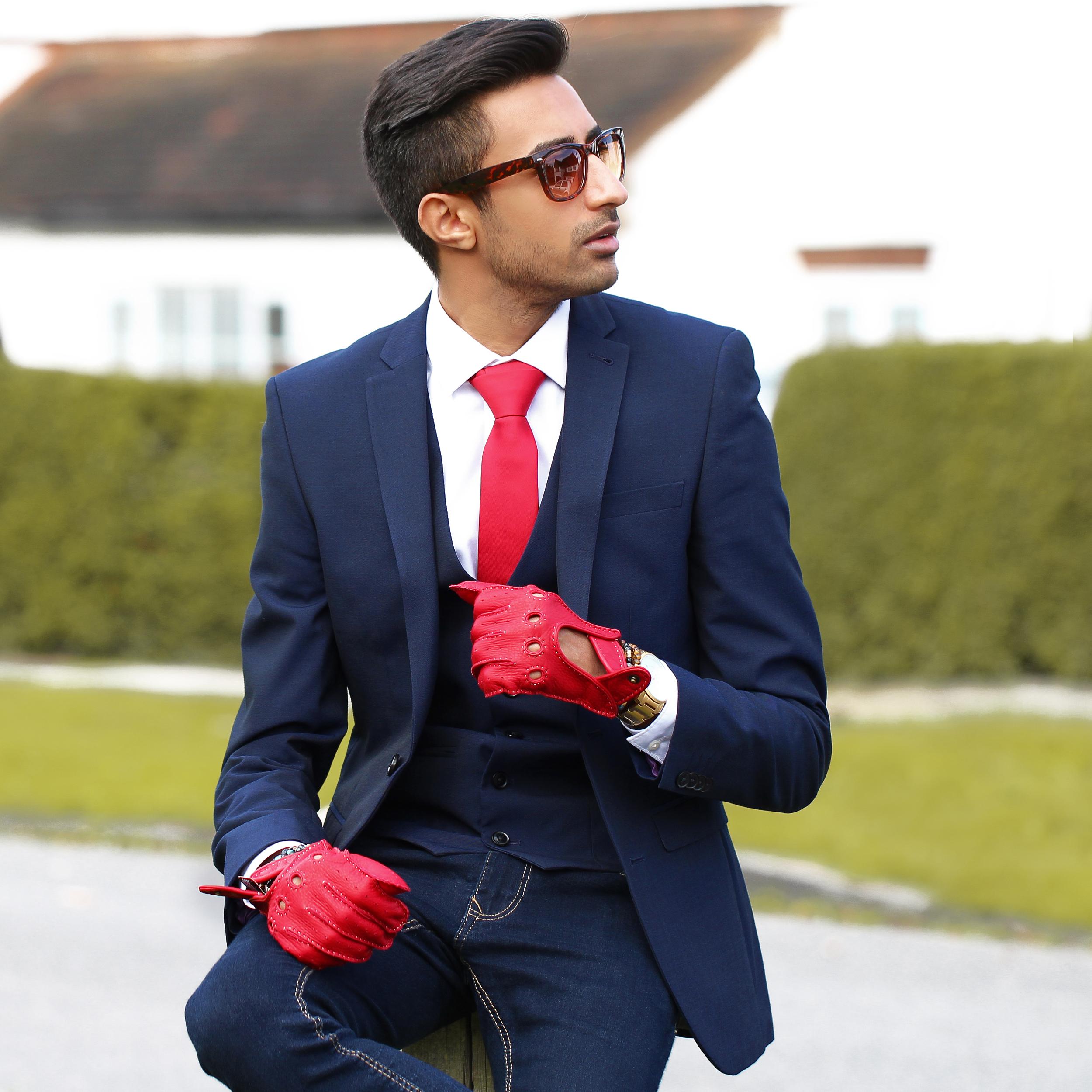 Мужские перчатки красные