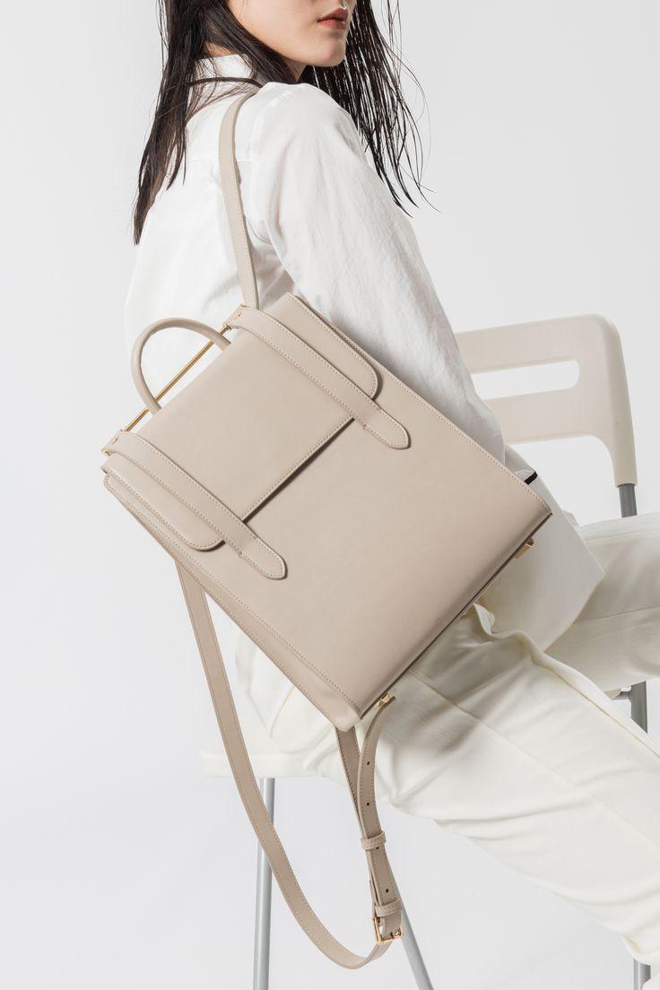 Кожаный рюкзак квадратный
