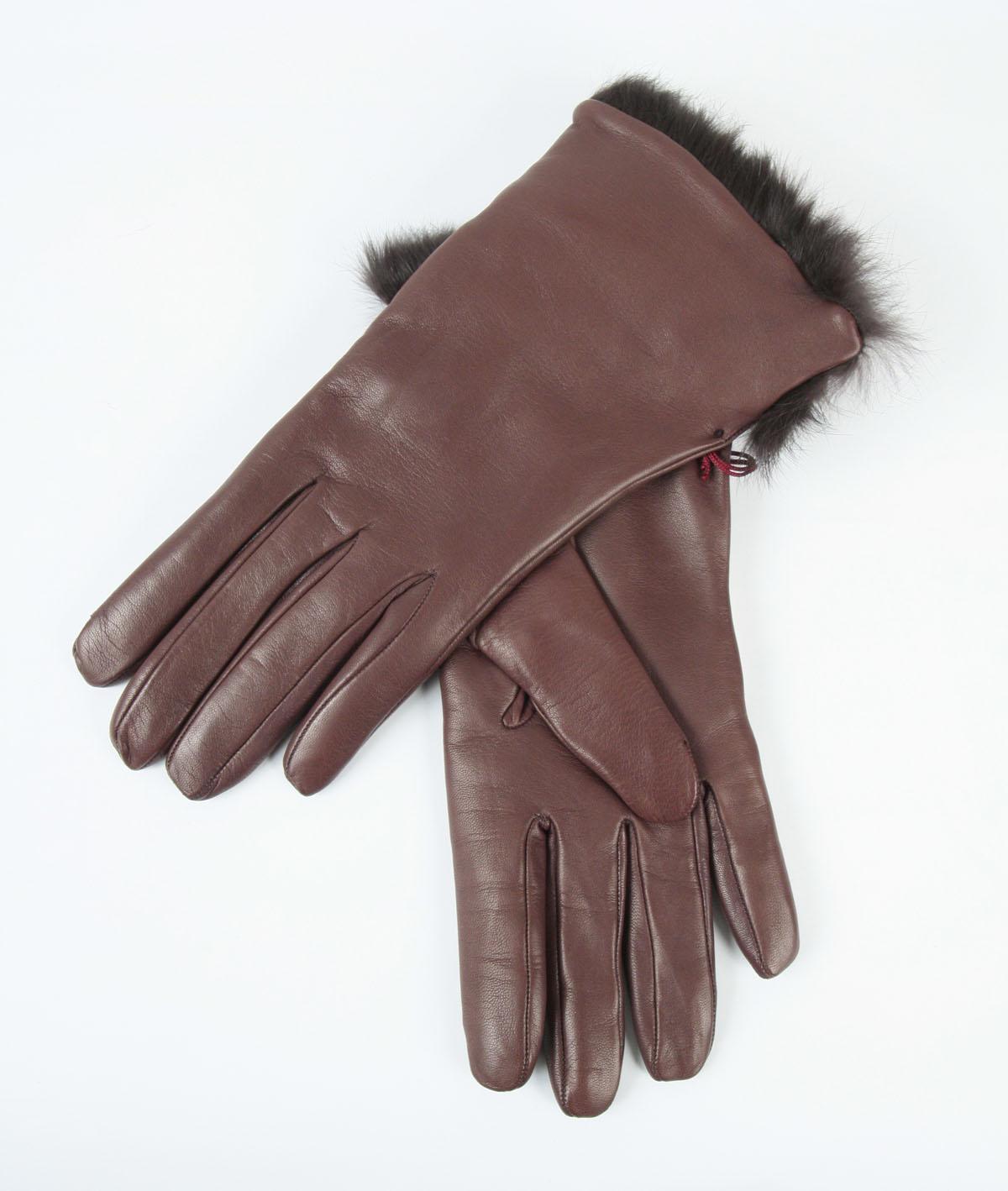 Кожаные перчатки с мехом