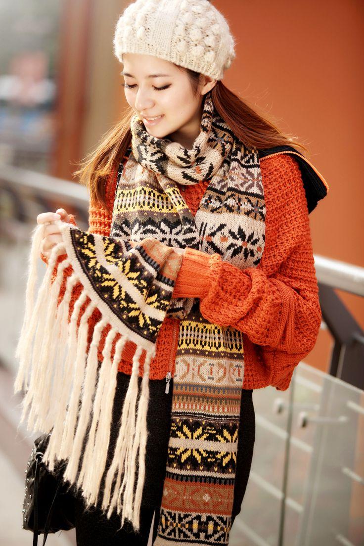 Вязаный шарф с норвежским узором